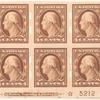 4c orange brown Washington block of six