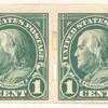 1c green Franklin strip of four