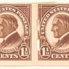 1 1/2c yellow brown Warren G. Harding strip of four