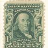 1c blue green Franklin strip of three