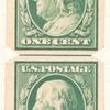 1c green Franklin strip of four