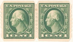 1c green Washington pair