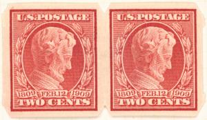 2c carmine Lincoln Centenary of Birth pair