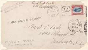 1918 Lock Haven, Pennsylvania to Washington, D. C. cover