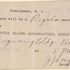 1911 Rhode Island Aeronautical Society meeting announcement card
