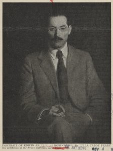 Portrait of Edwin Arlington Robinson. By Lilla Cabot Perry. On exhibition at the Braus Galleries, New York.