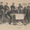 "Council of war on board the flag-ship ""Colorado."" Staff Lietuenant. Capt. Kemberly. Com. M'Crea. Com. Blake. Capt. Cooper. Capt. Nichols. Admiral John Rodgers. Secretery to Admiral. Staff Lieutenant."