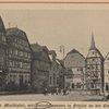 Der marketplatz mit Rolandsbrunnen in fritzlar an de Eder.