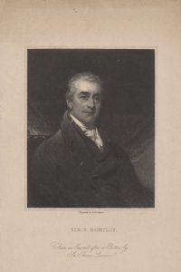 Sir S. Romilly / from an enamel after a picture by Sir Thomas Lawrence ; engraved by R. Woodman.