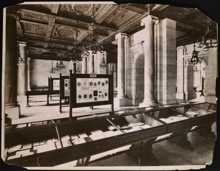 [Interior view of the New York Public Library]