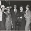 Harry Belafonte (center) with (left to right) Daisy Bates, Daisy C. Hicks, Gloria Reid and Margherite Mays (Mrs. Willie Mays), at the Committee for United Negro Relief, Inc. Benefit Bridge Luncheon