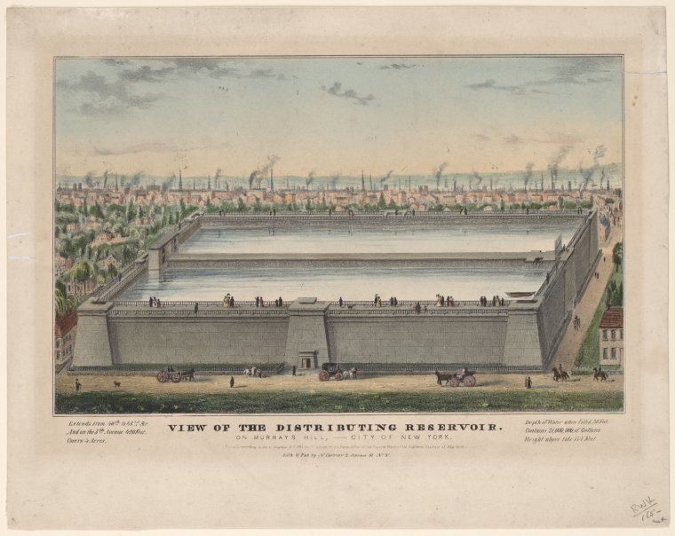 View of the Distributing Reservoir on Murray's Hill, City of New York