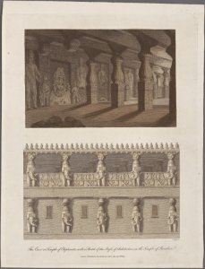 The Cave or Temple of Elephanta; with a sketch of the style of architecture in the Temple of Paradise / J. Pass sc.