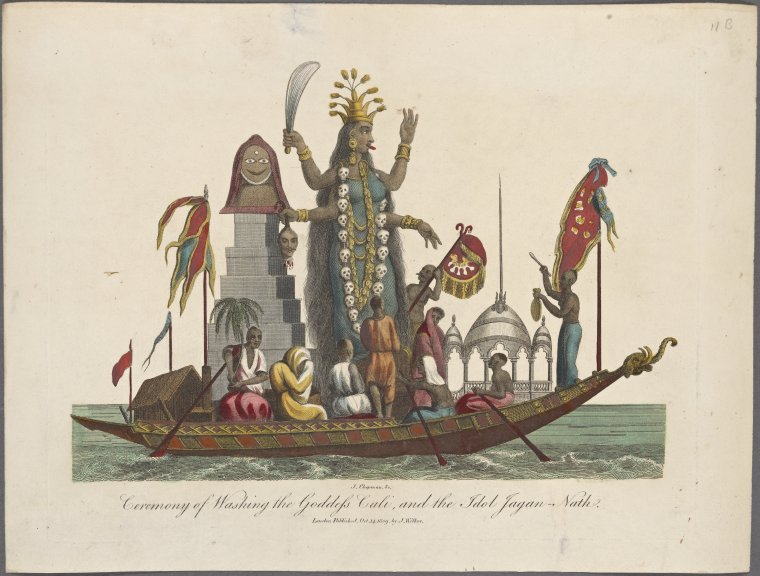 This is What John Chapman and Ceremony of washing the Goddess Cali and the idol Jagan-Nath Looked Like  on 10/14/1809