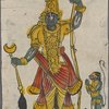 Large green figure with small green monkey-faced figure, Hanuman?]