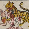 Male figure holding shield or plate, fighting with a tiger, blood streaming from tiger's mouth, [dog?] underneath tiger, blood streaming on its head.]