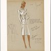Two piece slimline suit with jacket falling below hip line and pleated skirt.]