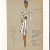 Belted fitted long-sleeved dress or coat with flowing skirt and scrolled embroidery embellishment on bodice.]
