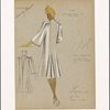 Pencil silhouette coat with gathers at shoulders and sleeves edged with cord.]