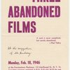 "Cover of program for screening of Maya Deren films entitled ""Three Abandoned Films"", Provinceton Playhouse, February 18, 1946."
