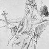 George Sand en Madeleine. Dessin à la plume de Louis Boulanger (1807-1867).