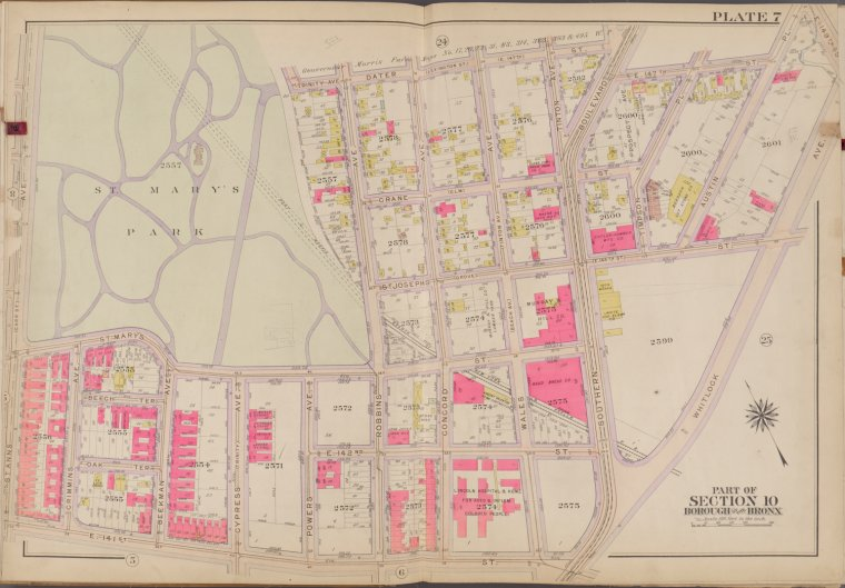 Bronx, V. 1, Double Page Plate No. 7 [Map bounded by Dater St., E. 147th St., Whitlock Ave., E. 141st St., St. Anns Ave.]