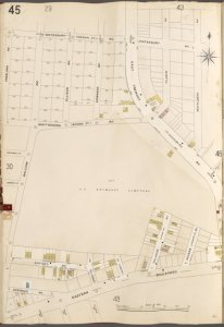 Bronx, V. A, Plate No. 45 [Map bounded by Waterbury Ave., Mayflower Ave., Eastern Bouleavrd, Vreeland Ave.]