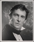 Publicity still of Jeremy Brett from the touring production of the 1977-80 revival of Dracula, sets by Edward Gorey