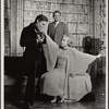 Jeremy Brett and Margaret Whitton [foreground], with Nick Stannard in the touring production of the 1977-80 revival of Dracula, sets by Edward Gorey