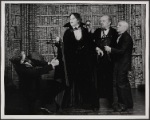 Alan Coates, Raul Julia, Jerome Dempsey, and Dillon Evans in the 1977-80 Broadway revival of Dracula, sets by Edward Gorey