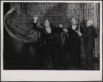 Alan Coates, Raul Julia, Jerome Dempsey and Dillon Evans in the 1977-80 Broadway revival of Dracula, sets by Edward Gorey