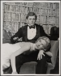Alan Coates [seated] and Valerie Mahaffey in the 1977-80 Broadway revival of Dracula, sets by Edward Gorey