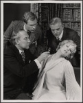 Peter Walker, Alan Coates, Dillon Evans and Valerie Mahaffey in the 1977-80 Broadway revival of Dracula, sets by Edward Gorey