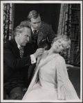 Peter Walker, Alan Coates and Valerie Mahaffey in the 1977-80 Broadway revival of Dracula, sets by Edward Gorey