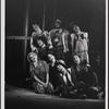 [David Haskell (kneeling at left), Stephen Nathan (far right), and ensemble in Godspell, 1971 June]