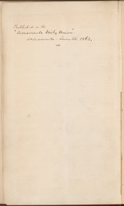"""Published in the Sacramento…"" [Verso of second blank page]"