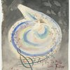 "[Watercolor with pale to dark gray background with hands applauding in upper right.  A spotlight beams down from upper left forming a swirl of rainbow colored light with a border of winged musical notes ending in a G clef symbol.  The nude figure of Fuller lounges in the center of the whirlpool of colored light, her breasts exposed.  It is inscribed in the lower right ""To Miss Loïe Fuller 24 mars 1895""  It is signed on the lower left.]"