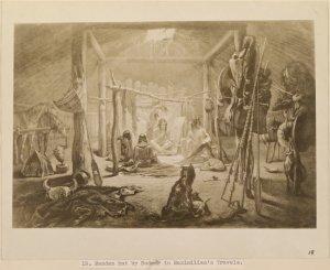 Mandan Hut by Bodmer in Maximillian's Travels.