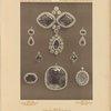 [Emerald sevigné, ear-rings, two pendants, brooch, pendant, and locket.]