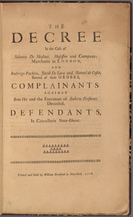 The decree in the case of Solomon De Medina, ... (Title page)