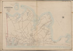 Suffolk County, V. 1, Double Page Plate No. 7 [Map bounded by Gardiners Bay, Atlantic Ocean, Town of Southhampton]