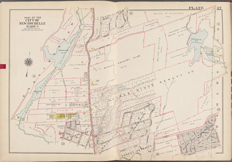 Westchester, V. 1, Double Page Plate No. 27 [Map bounded by Mamaroneck, Overlook Circle, East Chester]