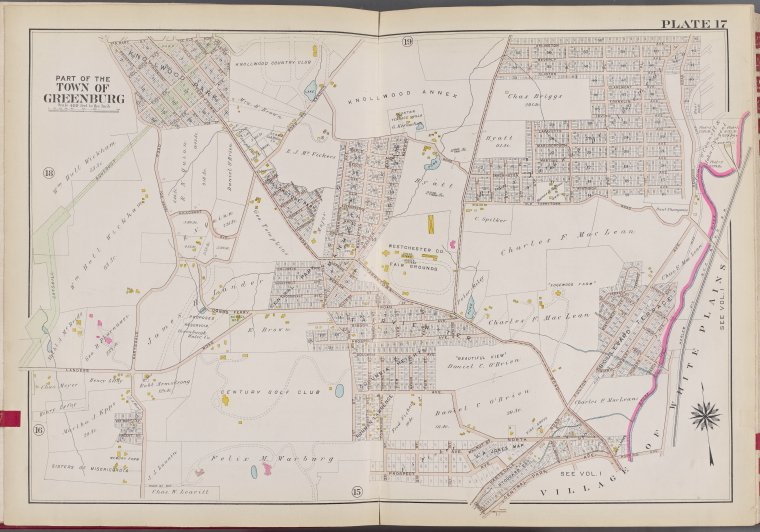 Westchester, V. 2, Double Page Plate No. 17 [Map bounded by Arlington Ave., Village of White Plains]