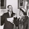 Ruth Whitehead Whaley being sworn in by Mayor Richard Vincent Impelliteri, 1951