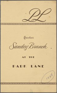 Sunday; Easter brunch at Park Lane -- New York (NY) (English).