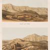 Theben [Thebes]. Panorama von Qurnah [Qurna] aus:  Ansicht nach Norden;  Ansicht nach Westen.