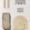 Neues Reich. Dyn. XVII. a. Thürpfosten aus Karnak; b. Ziegel aus Dêr el Bahri [Theben]; c. d. Hölzerne Todtenkasten; e. Tafel in Kalkstein. [b - d jetzt im K. Museum zu Berlin.]