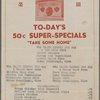 Daily menu at Yee Hop's (Restaurant) -- Unknown, New York (NY) (English)