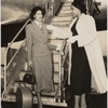 Unidentified Brandford model (left) and Barbara Watson at airplane ramp.