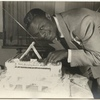 Nat King Cole with birthday cake, March 18, 1949.